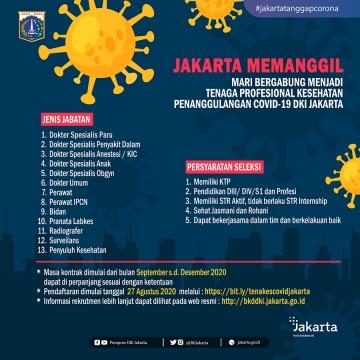 [Infografis]Rekrutmen Tenaga Professional Kesehatan Penanganan COVID-19 di Lingkungan Provinsi Daerah Khusus Ibukota Jakarta Tahun 2020